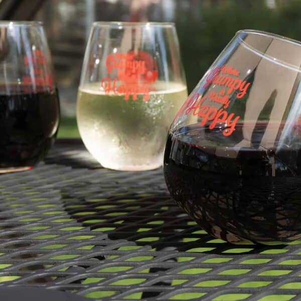 12 oz Stemless Wine Glasses Standard and Wobble